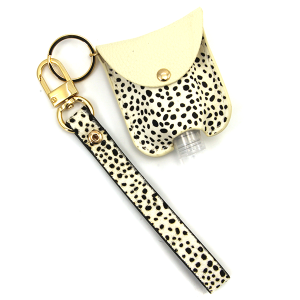 Hand Sanitizer Keychain 047 cheetah ivory leather strap