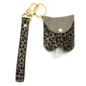 Hand Sanitizer Keychain 050 leopard gray leather strap