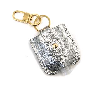 Hand Sanitizer Keychain 042 glitter silver