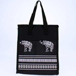 luggage ak ncc18 ELE BW lunch box boho elephant black white