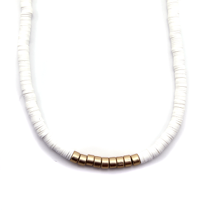 Necklace 919a 78 A Project contemporary minimal necklace gold white