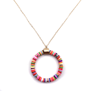 Necklace 918a 78 A Project contemporary chain hoop necklace multicolor