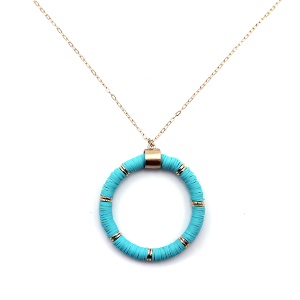 Necklace 914a 78 A Project contemporary chain hoop necklace teal
