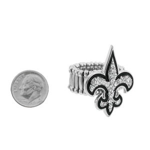 ring 188d 54 fleur di lis clear black trim silver