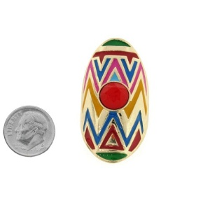 ring 626d 24 oval tribal zig zag gold multi red