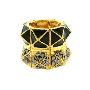 ring 708c 59 pyramid crystal gold black