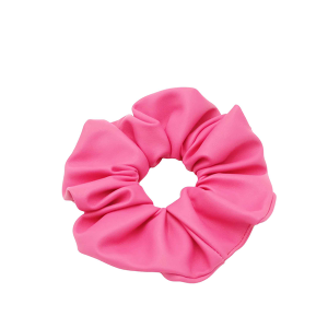Hair Tie 739 30 stretch scrunchie hair tie solid pu leather pink