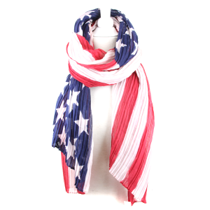 Shawl 761 34 Long lightweight scarf stars stripes USA america flag