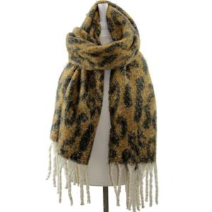 Scarf 254c 34 Leopard fringe scarf