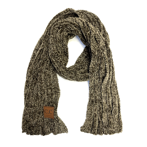 Scarf 146a 82 CC Chenille ribbed wrap new olive green
