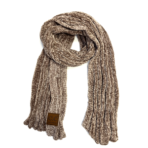 Scarf 157j 82 CC Chenille ribbed wrap taupe