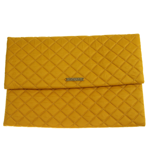 Quilted Nylon Evening Bag - mustard