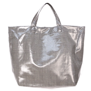 Gloss Plaid Tote - Black