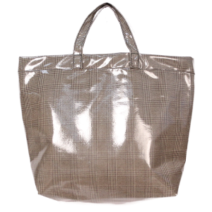 Gloss Plaid Tote - Brown