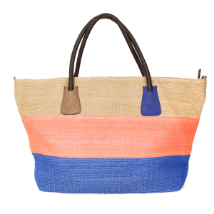 Tri Color Woven Straw Leather tote - Coral
