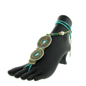 Anklet 056 40 foot sandal seed bead round turquoise