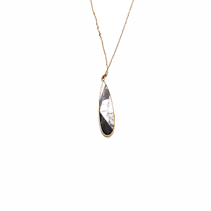 Necklace 174L 25 Tell Your Tale long marble accent tear drop black and white
