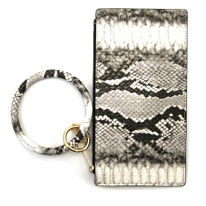 Wrist Wallet Leather Snake Texture Gray