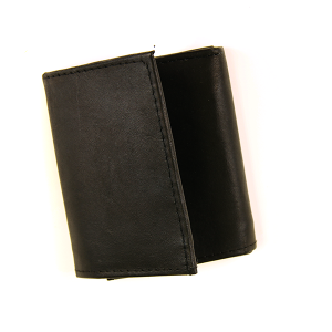 Simple Trifold Wallet Leather 132 Black