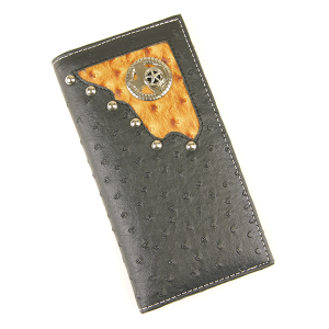 Western Large Leather Wallet Texas Black