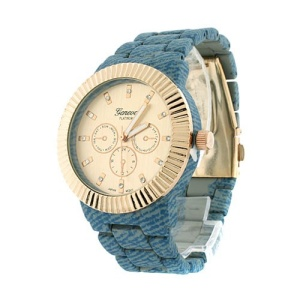 watch 007 08 2373 round metal link blue gold