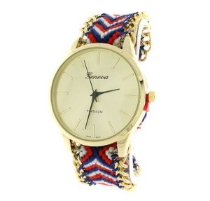 watch 053h 08 4752 yarn chain link chevron round multi gold