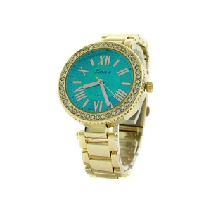 watch 073o 08 4895 round face crystal roman green gold