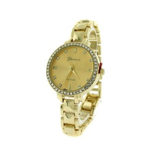 watch 088m 87 round crystal link gold