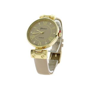 watch 116c 08 9881 round face leather beige