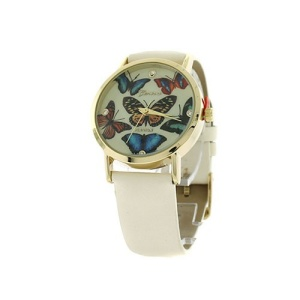 watch 141o 08 9863 round face butterfly leather white