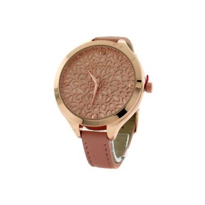 watch 167c 08 9597 round face floral leather rose pink