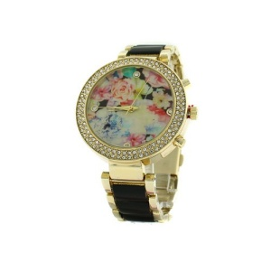 watch 185e 08 9484 round floral face crystal black gold