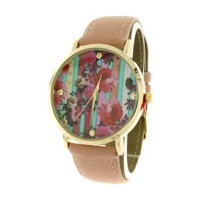 watch 194f 08 9837 leather like strap stripe floral multi pink