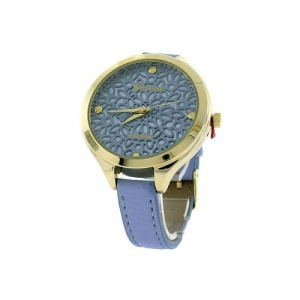 watch 196d 08 9597 round face floral leather light blue