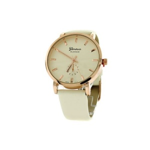 watch 227f 08 round face leather rose gold white