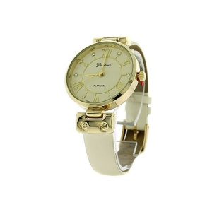 watch 230f 08 9881 round face leather white