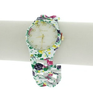 watch 244c 08 9495 round face flower link white multi
