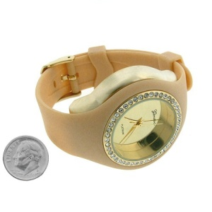 watch 307 08 lg rubber round gold beige