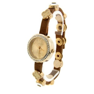 watch 314c 08 charm watch gold off white brown