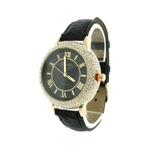 watch 400a 08 4779 leather like band crytal ring black