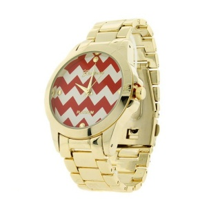 watch 430b 08 9285 chevron metal link red gold