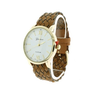 watch 446d 08 9831 braided band brown gold