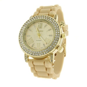 watch 449c 08 4667 rubber band crystal gold tan