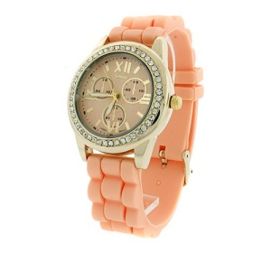 watch 467a 08 rubber band crystal face light pink gold