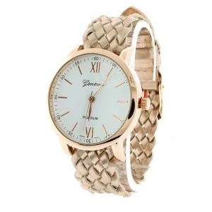 watch 485a 08 9831 braided band pink gold