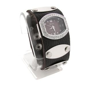 watch 498 08 wrist band silver dark brown