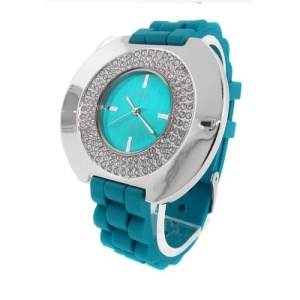 watch 539 08 lg rubber round silver teal