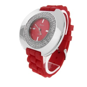 watch 542 08 lg rubber round silver red