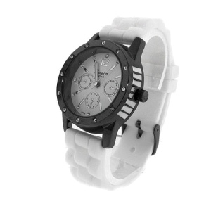 watch 580 08 lg rubber round gunmetal white