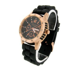 watch 585 08 lg rubber round rose gold black